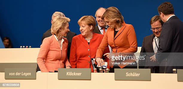 German Defense Minister Ursula von der Leyen Chancellor and Chairwoman of the German Christian Democrats Angela Merkel Treasurer Philipp...