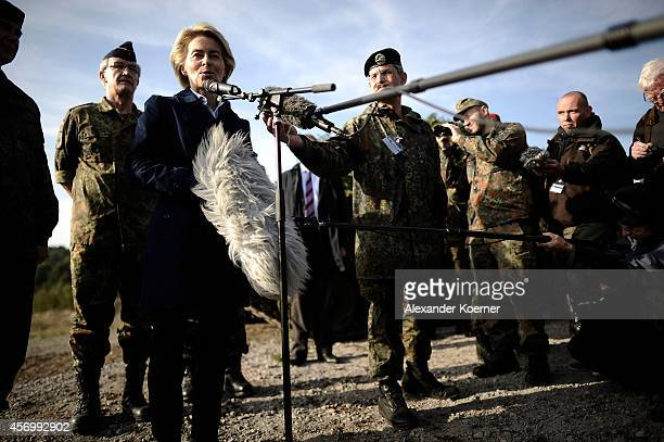 German Defense Minister Ursula von der Leyen delievers a speech to members of the press during an in land operation exercises at the Bundeswehr...