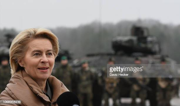 German Defense Minister Ursula von der Leyen holds a statement during a visit to a Bundeswehr infantry training facility on December 6 2018 in...
