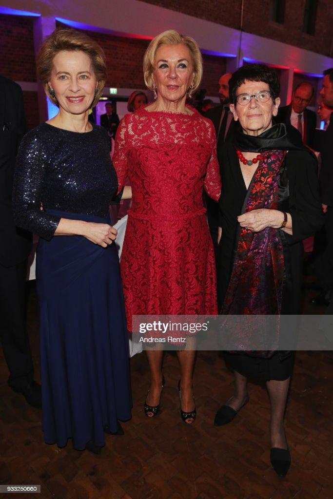 German Defense Minister Ursula von der Leyen, Liz Mohn and Rita Suessmuth attend the Steiger Award at Zeche Hansemann on March 17, 2018 in Dortmund, Germany.