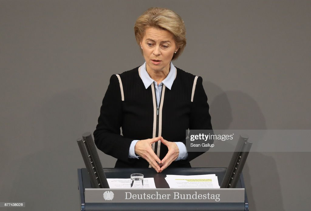 German Defense Minister Ursula von der Leyen makes a hands gesture nearly identical to one that German Chancellor Angela Merkel often shows during the second Bundestag session since the collapse of government coalition talks on November 22, 2017 in Berlin, Germany. Preliminary coalition talks, after over three weeks of arduous meetings, fell apart Sunday night, leaving Merkel confronted with two uncomfortable possibilities: attempt to run a minority government together with the German Greens Party or submit to new elections. Both would be a first at the federal level in post-World War II German history.