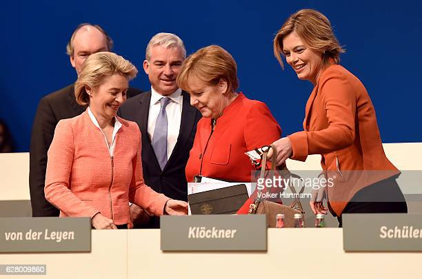 German Defense Minister Ursula von der Leyen Minister of the Interior in BadenWuerttemberg Thomas Strobel Chancellor and Chairwoman of the German...