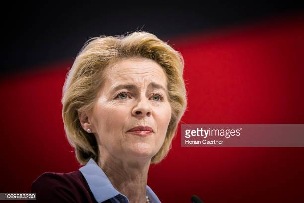 German Defense Minister Ursula von der Leyen speaks at the 31st National Party Conference of the CDU on December 08 2018 in Hamburg Germany The CDU...