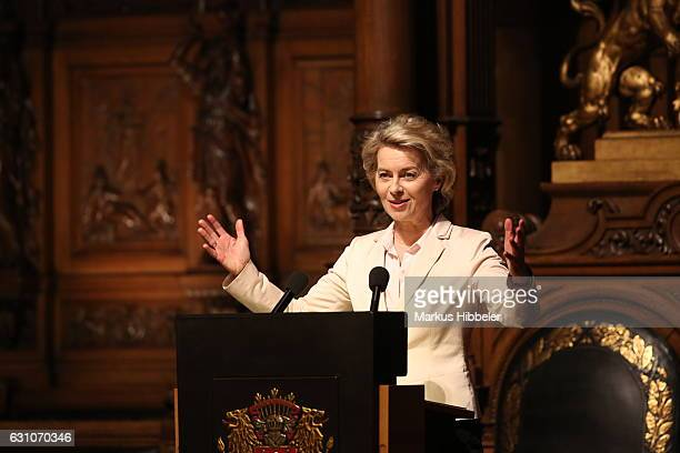 German Defense Minister Ursula von der Leyen speaks during the reception for the 70th anniversary of 'DER SPIEGEL' at the town hall on January 6 2017...