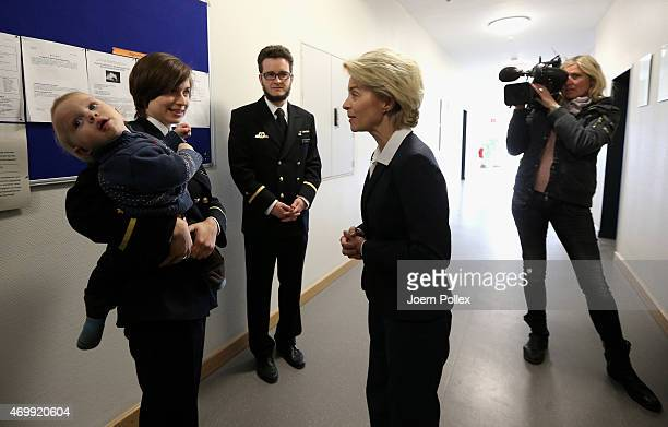 German Defense Minister Ursula von der Leyen speaks with cadets at the noncommissioned officers' school of the German Navy on April 16 2015 in Ploen...