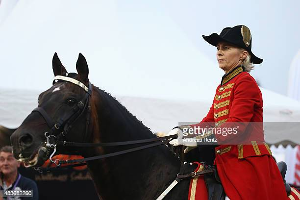 German Defense Minister Ursula von der Leyen takes part in the opening ceremony of the FEI European Championship 2015 on August 11, 2015 in Aachen,...