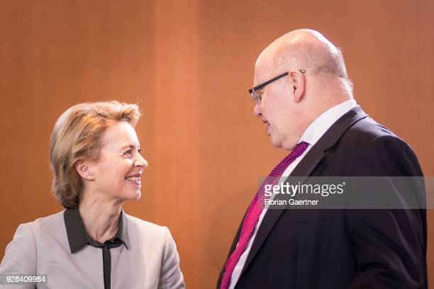 German Defense Minister Ursula von der Leyen talks with Head of the German Chancellery Peter Altmaier before the weekly interim government cabinet...