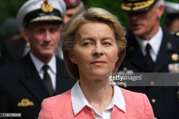 German Defense Minister Ursula von der Leyen tours a memorial to Bundeswehr soldiers killed in missions abroad with Dutch Defense Minister Ank...