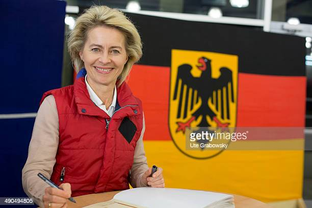 German Defense Minister Ursula von der Leyen visits German armed forces on May 14 in Prizren Kosovo