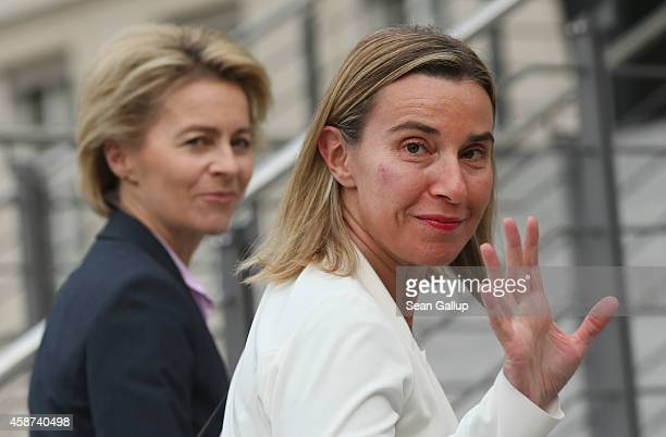 German Defense Minister Ursula von der Leyen welcomes High Representative of the European Union for Foreign Affairs Federica Mogherini at the Defense...