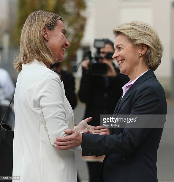 German Defense Minister Ursula von der Leyen welcomes High Representative of the European Union for Foreign Affairs Federica Mogherini at the Defense...