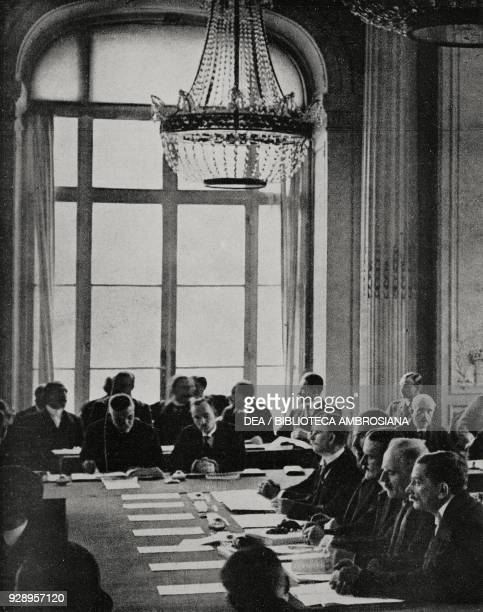 German delegates in front of the Allies during the historic meeting of the Paris Peace Conference on May 7 1919 in Versailles France from...