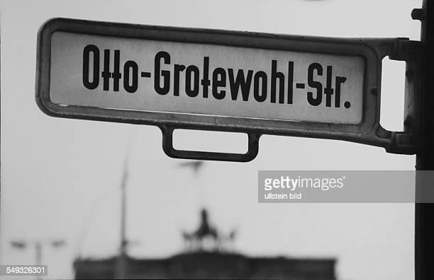 German Democratic Republic Berlin street sign OttoGrotewohlStrasse near Brandeburger Gate