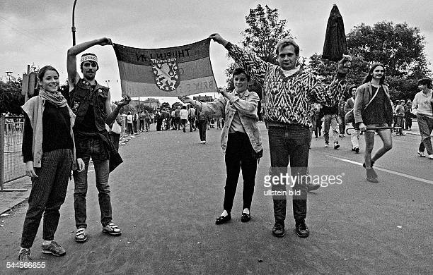 German Democratic Republic Bezirk Berlin East Berlin - 5th Berlin Rock Summer of the FDJ; fans on the way to the bicycle stadium Weissensee to the...