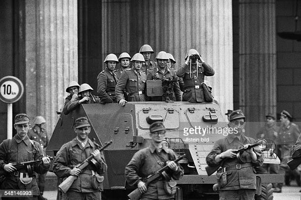 German Democratic Republic Bezirk Berlin East Berlin - Construction of the Berlin Wall 1961: Combat Groups of the Working Class and a armored scout...