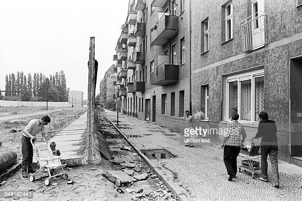 German Democratic Republic Bezirk Berlin East Berlin Leftovers of the Berlin Wall at crossborder streets