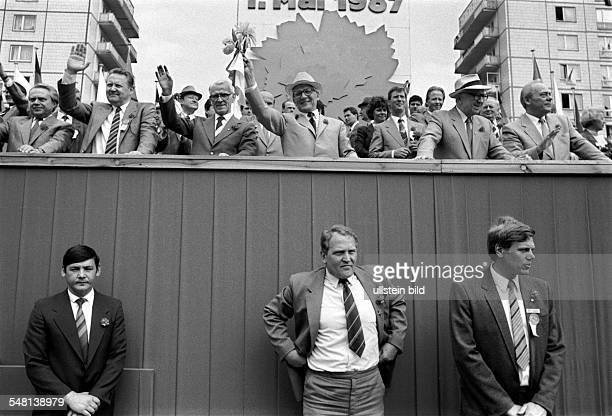 German Democratic Republic Bezirk Berlin East Berlin may rally tribune with Guenther Schabowsky Willi Stoph Erich Honecker Horst Sindermann from left...