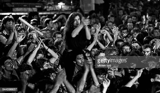 "German Democratic Republic Bezirk Berlin East Berlin - music festival ""Rock for Peace"", fans of the band ""Pankow"" -"