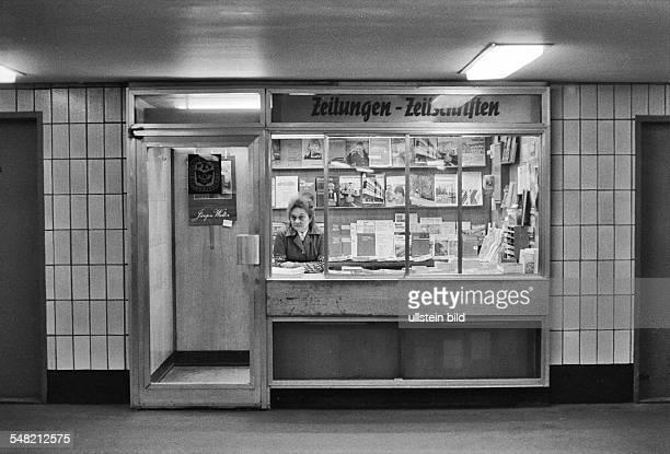 German Democratic Republic Bezirk Berlin East Berlin newspaper kiosk at the SBahn station Alexanderplatz 1984
