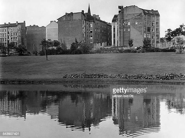 German Democratic Republic Bezirk Berlin East Berlin Park with a pond on the Weinbergsweg Photographer Gert Kreutschmann ca 1960Vintage property of...