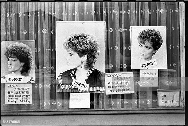 German Democratic Republic Bezirk Berlin East Berlin - Prenzlauer-Berg; shop window of a Coiffeur