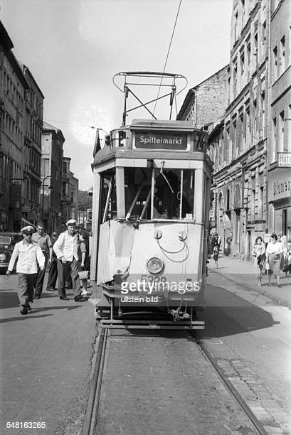 German Democratic Republic Bezirk Berlin East Berlin traffic accident with a tram um 1960