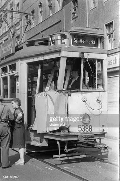 German Democratic Republic Bezirk Berlin East Berlin - traffic accident with a tram - um 1960