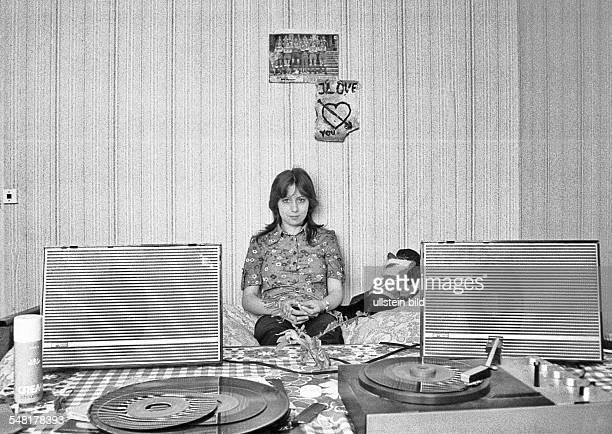 German Democratic Republic Bezirk Berlin East Berlin - young girl in her room -