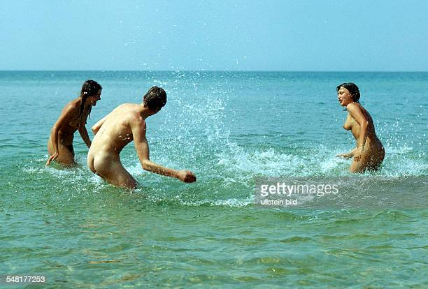 German Democratic Republic Darss Prerow nudist beach people bathing