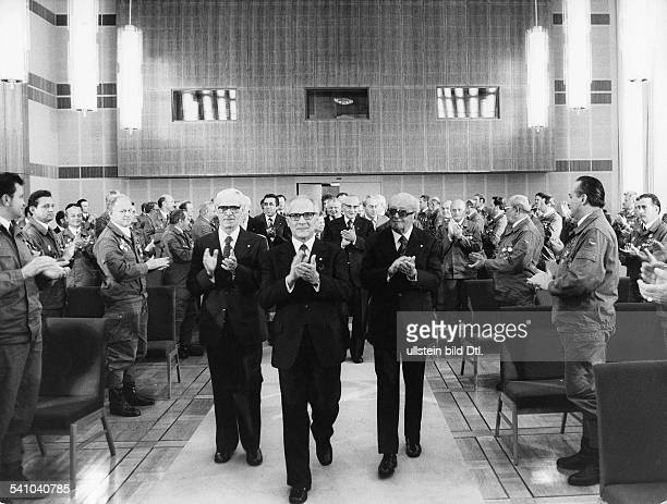 German Democratic Republic Erich Honecker * Politician Socialist Unity Party GDR Erich Honecker alongside Willi Stoph and Friedrich Ebert being...