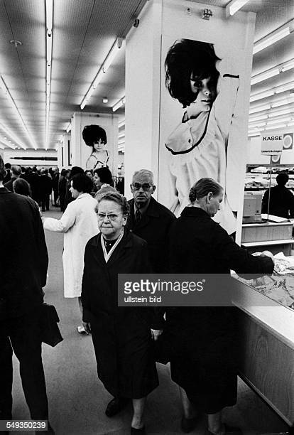 German Democratic Republic GDR department store 1969 in Leipzig while the Leipzig Fair was on customers shopping