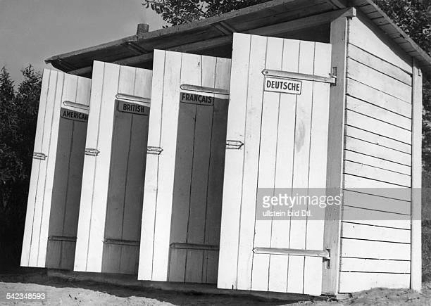 German Democratic Republic Germany Berlin toilets at the border checkpoint at Dreilinden with separate rooms for Americans British French and Germans...