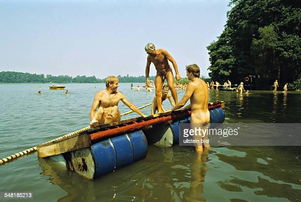 German Democratic Republic nudist beach and camping groung at Motzener Lake