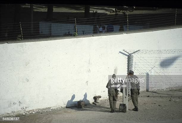 German Democratic Republic OstBerlin East Berlin Border troops of the NVA at the Berlin Wall June 1986