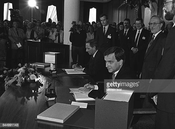 German Democratic Republic OstBerlin East Berlin Reunification singning of the traety between the GDR and the Federal Republic of Germany which...