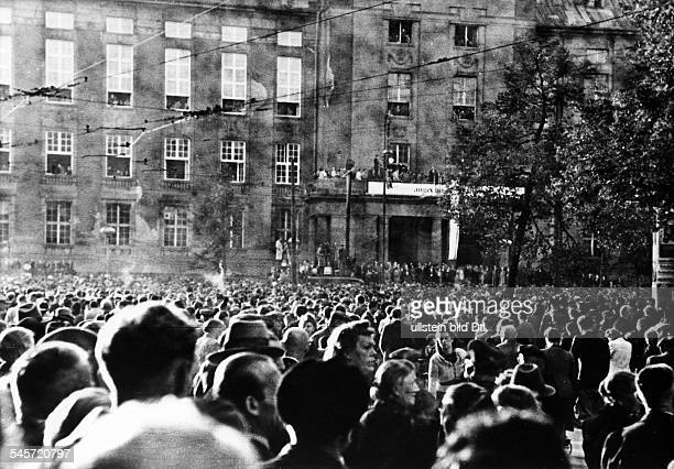German Democratic Republic Rally at Schoeneberg City Hall in West Berlin  demonstrators were calling for free elections in all Berlin and a...