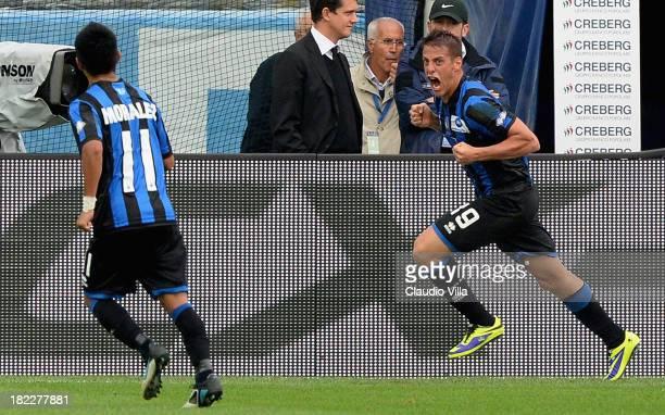 German Denis of Atalanta BC celebrates scoring the first goal during the Serie A match between Atalanta BC and Udinese Calcio at Stadio Atleti...