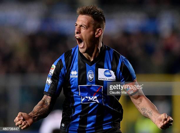 German Denis of Atalanta BC celebrates scoring the second goal during the serie A match between Atalanta BC and AS Livorno Calcio at Stadio Atleti...