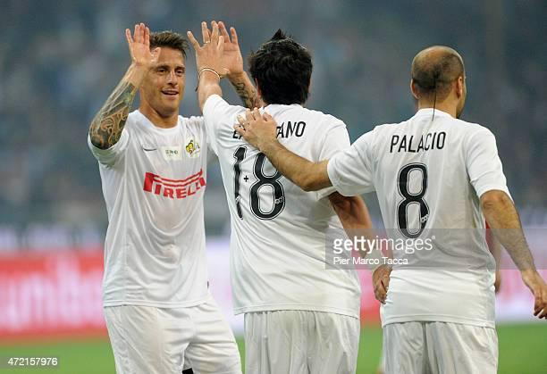 German DenisIvan Zamorano and Rodrigo Palacio of Pupi Team celebrates the goal during the Zanetti and friends Match for Expo at Stadio Giuseppe...