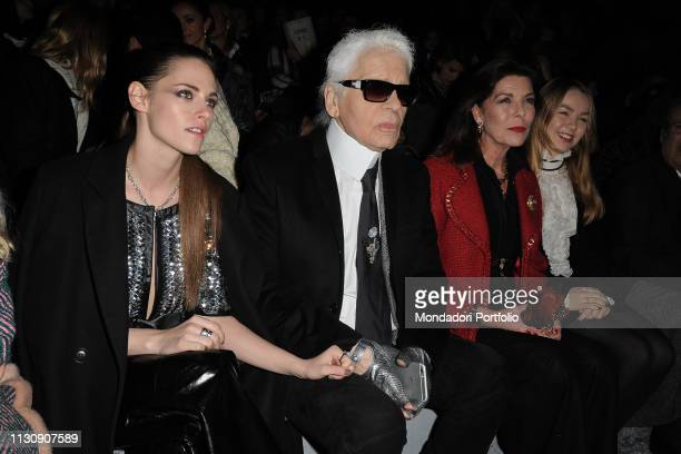 German designer Karl Lagerfeld American actress Kristen Stewart annover princess Carolina di Monaco and her daughter Alexandra di Hannover during the...