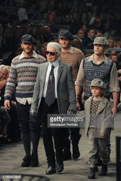 German designer Karl Lagerfeld during Metiers d'Art ParisRome catwalk by Chanel in Cinecittu2021 Rome December 1st 2015