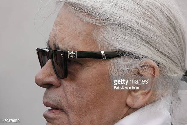 German designer Karl Lagerfeld during the opening of the 30th International Festival Of Fashion and Photography on April 23 2015 in Hyeres FranceThis...