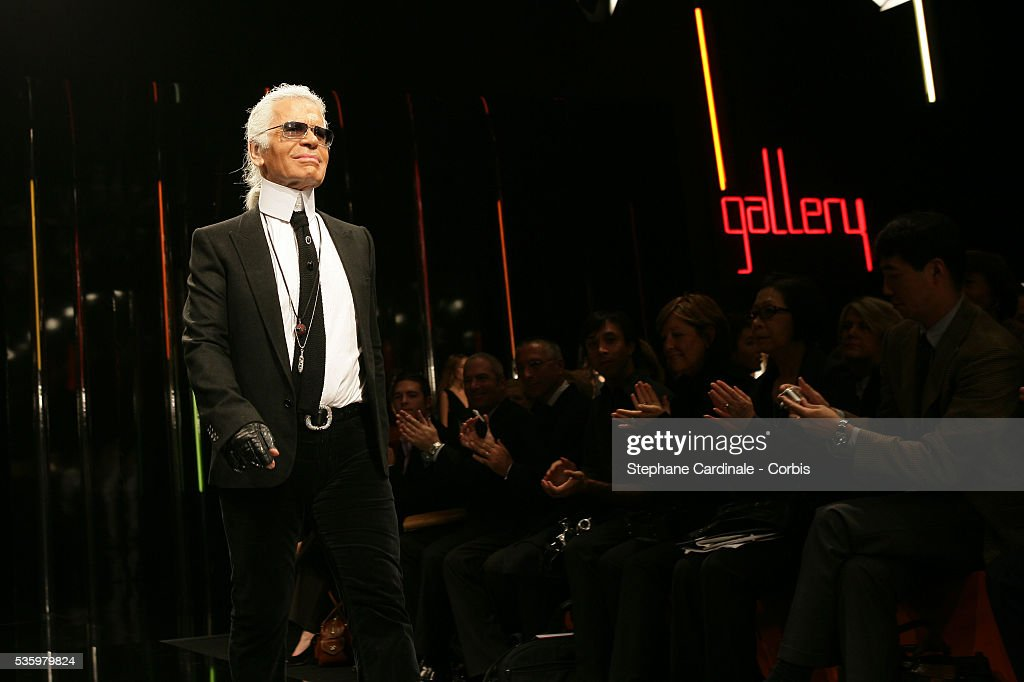 German designer Karld Lagerdeld on the catwalk at the 'Karld Lagerfeld Gallery ready-to-wear spring-summer 2006 collection' fashion show.