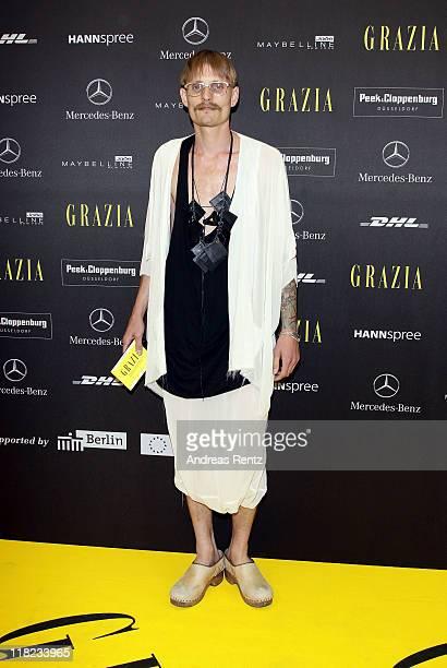German designer Patrick Mohr attends the Opening Night by GRAZIA MercedesBenz Fashion Week Berlin Spring/Summer 2012 at the Brandenburg Gate on July...