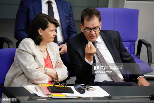 German Development Minister Gerd Mueller and Maria Flachsbarth Germany's parliamentary state secretary to the federal minister for economic...