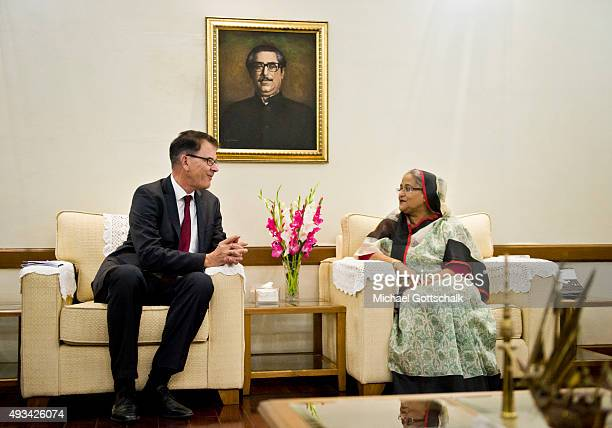 German Development Minister Gerd Mueller and Sheikh Hasina Prime Minister of Bangladesh meet in prime ministers residence on October 07 2015 in...
