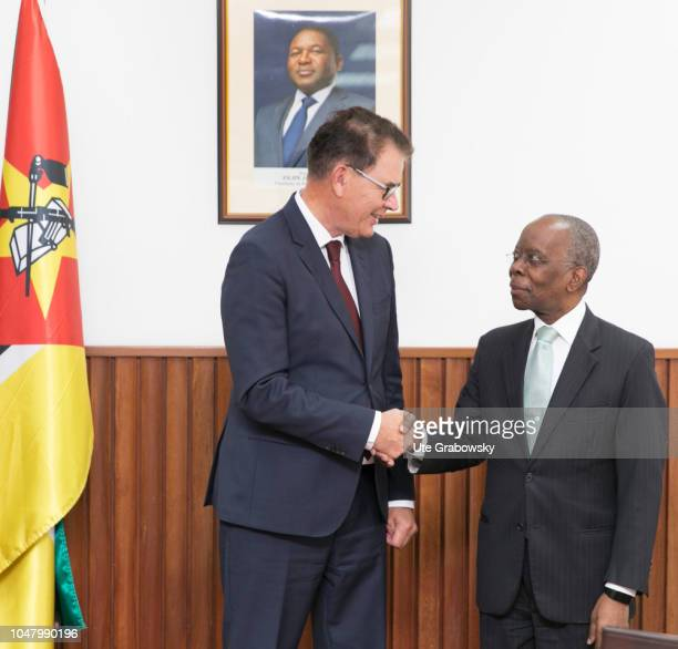German Development Minister Gerd Mueller CSU meets Adriano Maleiane Minister of Finance of Mozambique on August 26 2018 in Maputo Mozambique