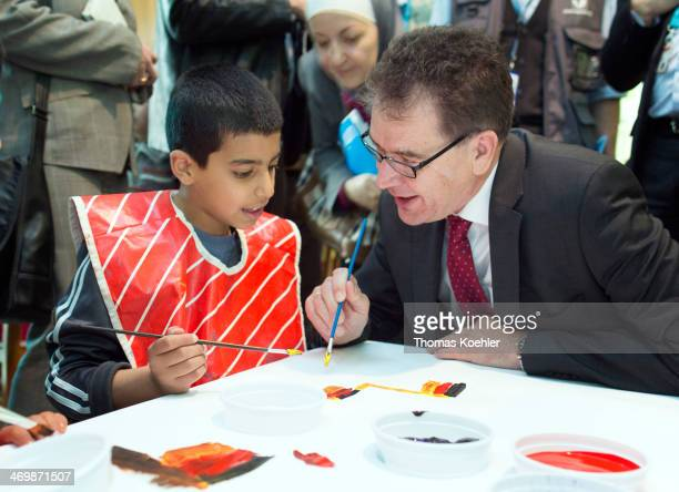 German Development Minister Gerd Mueller CSU visited a children and family protection zone for Syrian refugees in Hashemi alShimali in Jordan on...