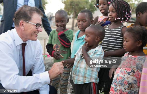 German Development Minister Gerd Mueller CSU visits the orphanage St Egidius for children suffering from AIDS on August 26 2018 in Beira Mozambique