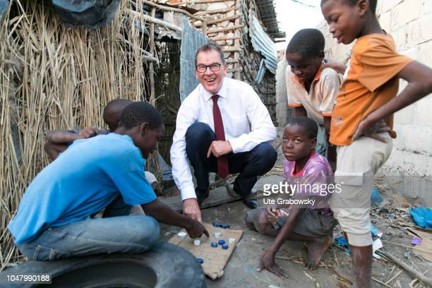 German Development Minister Gerd Mueller CSU visits the orphanage St Egidius for children suffering from AIDS on August 26 2018 in Beira Mozambique